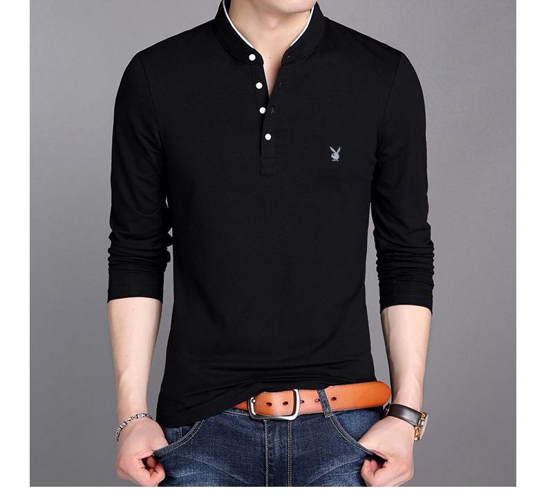 Playboy Mùa Xuân và Mùa Thu Nam Dài Tay Áo T-Shirt Cotton Mỏng Nam Đứng Cổ Áo Slim Trung Niên T-Shirt Áo Sơ Mi áo thun nam