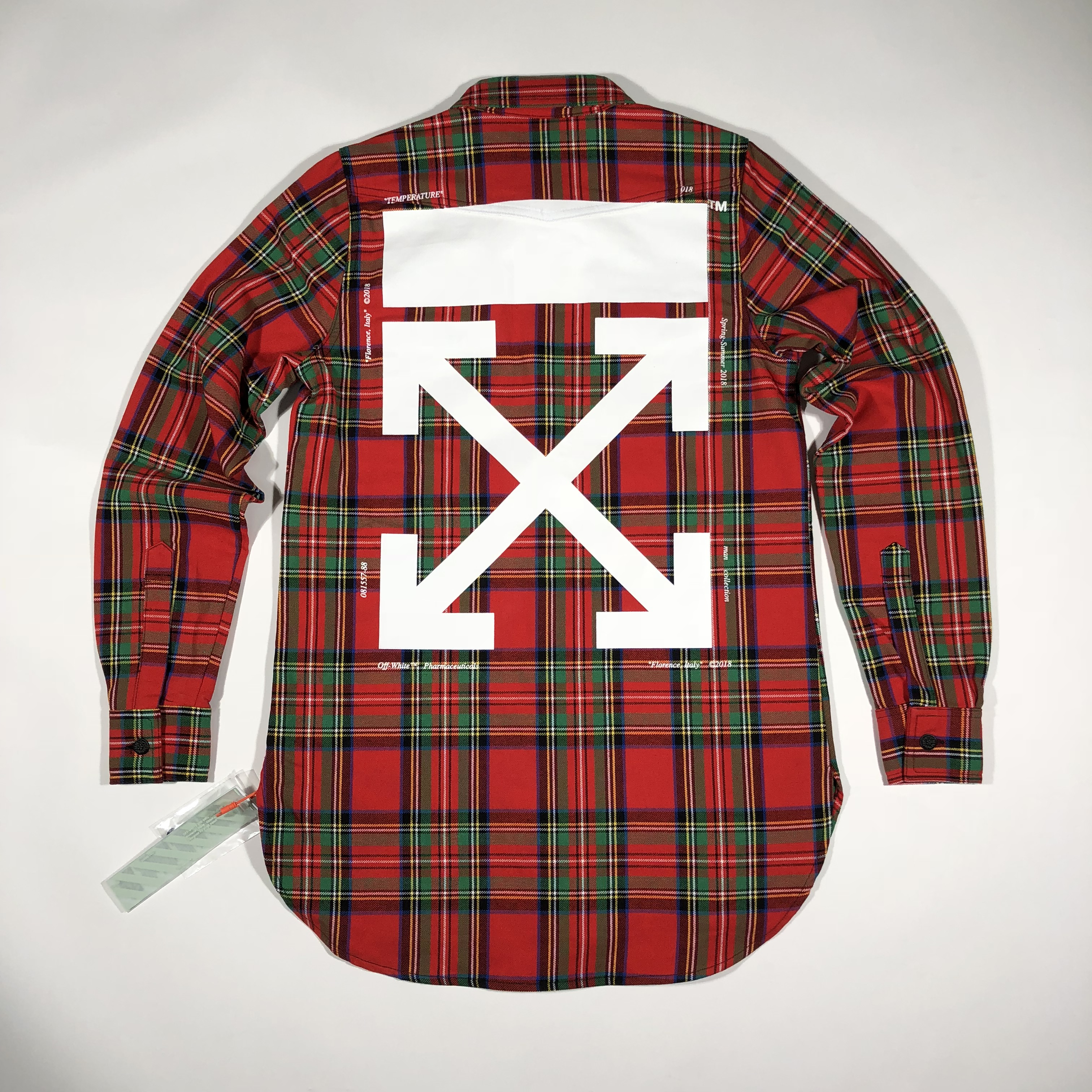 b45a899bcfc0 OFF-WHITE C O VIRGIL ABLOH 18SS ow arrow red and green plaid ...