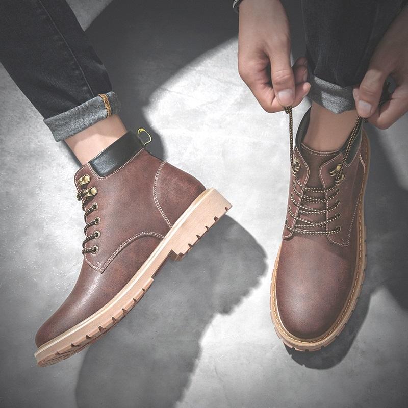 秋季马丁靴男新款高帮鞋男士雪地靴加绒棉鞋英伦皮靴中帮工装靴子