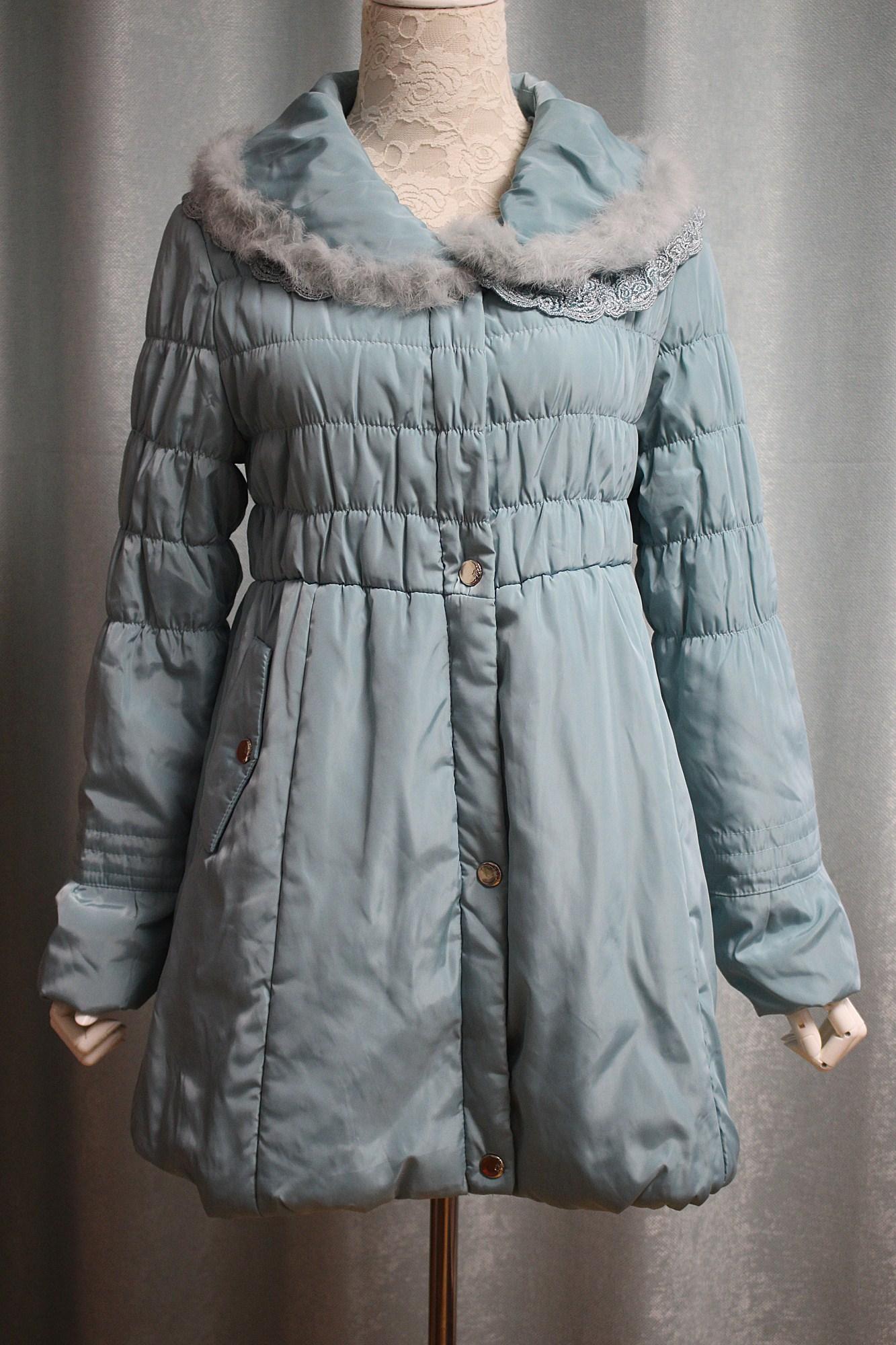 特!国内外套单轻薄款蕾丝棉衣拼接女装品牌长袖兔毛棉服春秋款