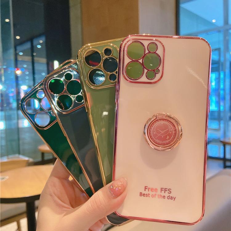适用苹果12手机壳送全屏钢化膜全包创意绿色指环支架iphone12promax全包摄像头防摔软壳超火粉色女款保护套5g