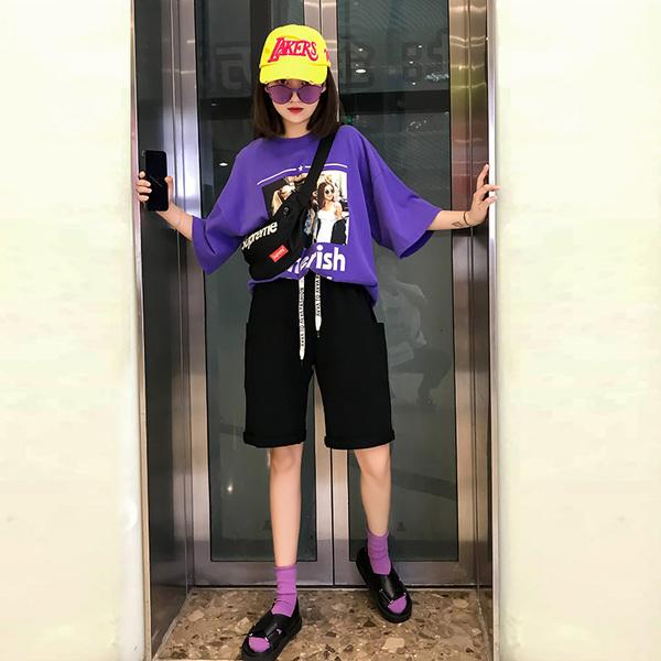 Движение шорты женщина лето свободный хлопок прямо брюки твердый бег баскетбол опрессовка хип-хоп пятый брюки волна