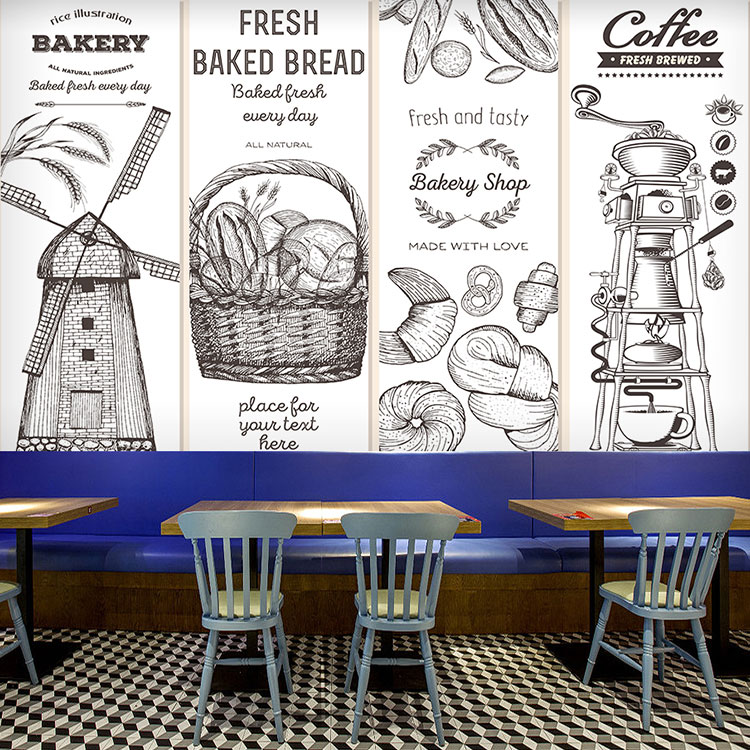 Hand Drawn Sketch Wheat Bread Baking Cake Shop Wallpaper 3d Art