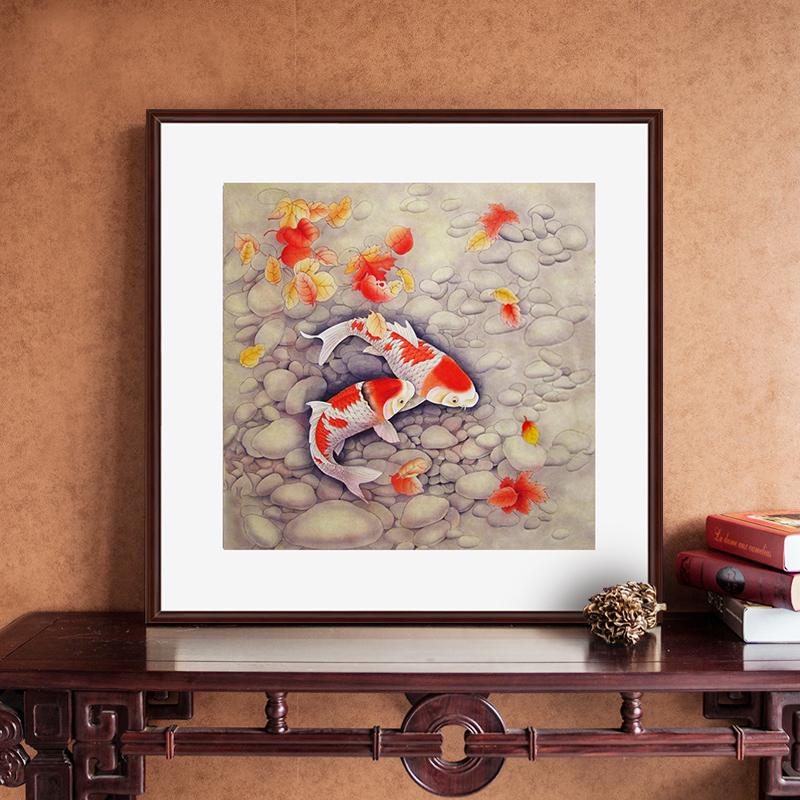 中式手绘国画工笔九鱼图现代家居客厅餐厅卧室酒店玄关装饰画斗方
