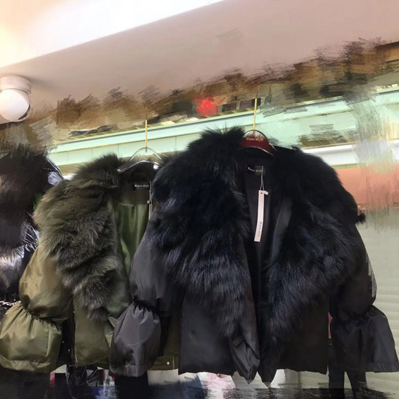 Южная корея восточные ворота чистый красный в этом же моделье 2019 зима крупногабаритный лиса воротник рукав талия подбитый ватник женщина западный стиль 610050387304
