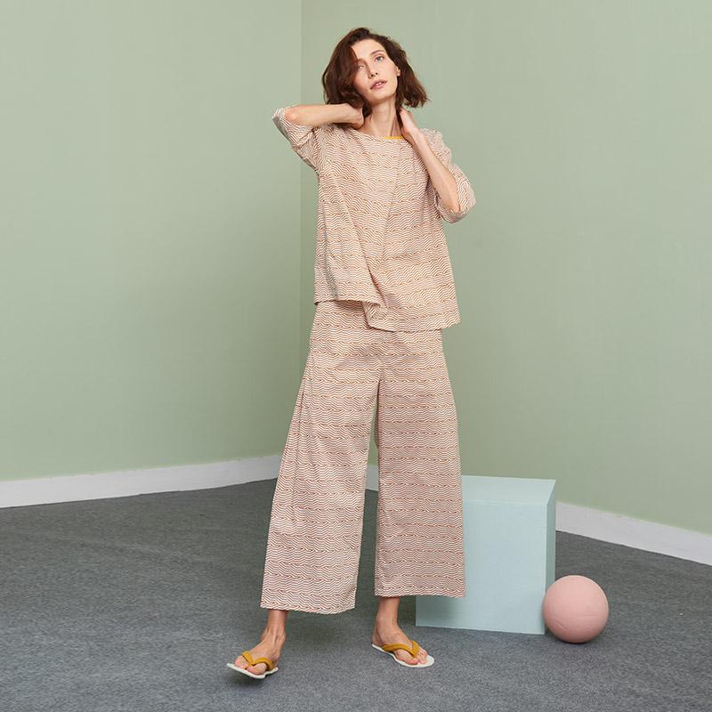 Nở hoa coco xuân hè thu đông đồ ngủ nữ cotton in đào lỏng tay áo dài phù hợp với dịch vụ nhà - Cặp đôi