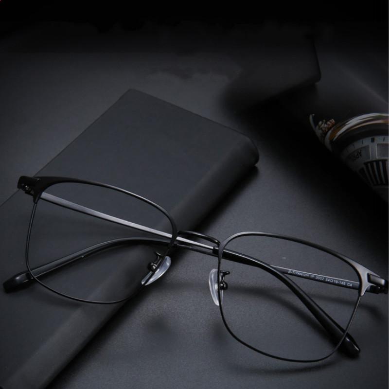 純鈦防藍光輻射變色眼鏡近視眼鏡男黑框眼鏡女眼睛全框架可配鏡片