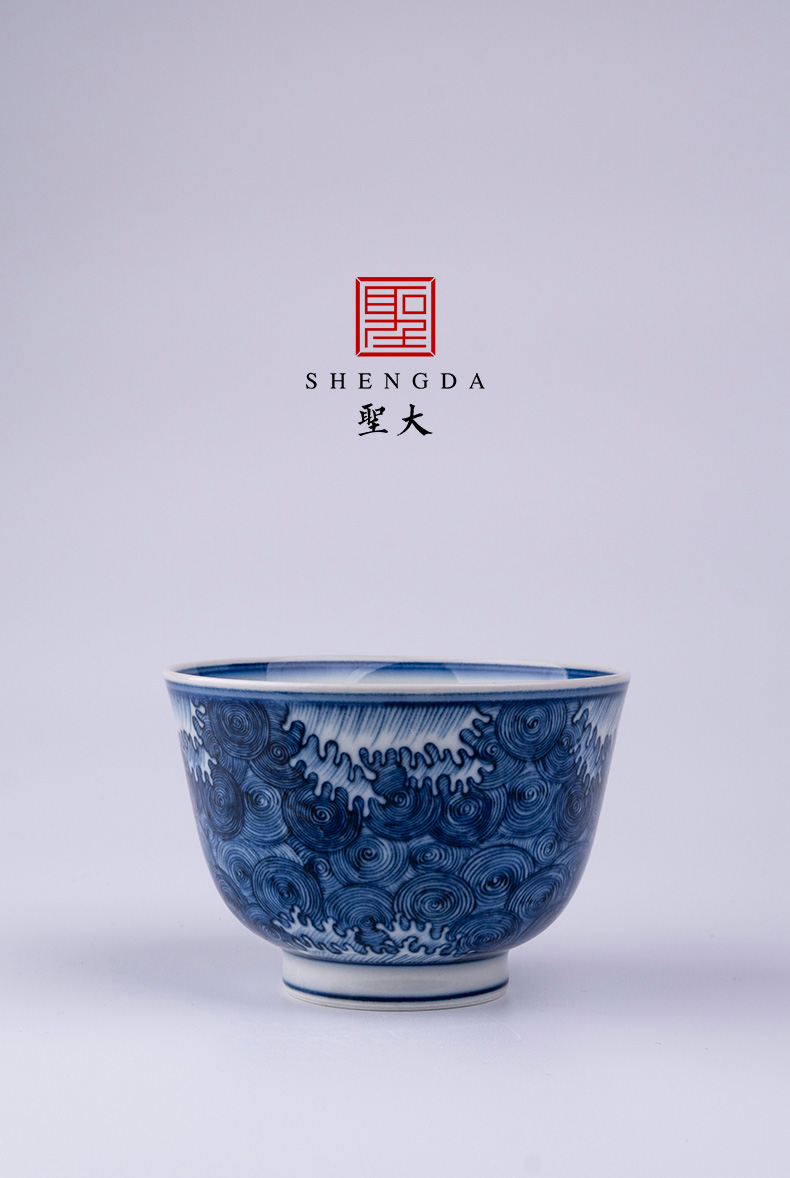 Holy big blue - and - white ceramics with water lines master cup manual hand - made jingdezhen tea kungfu tea cup sample tea cup
