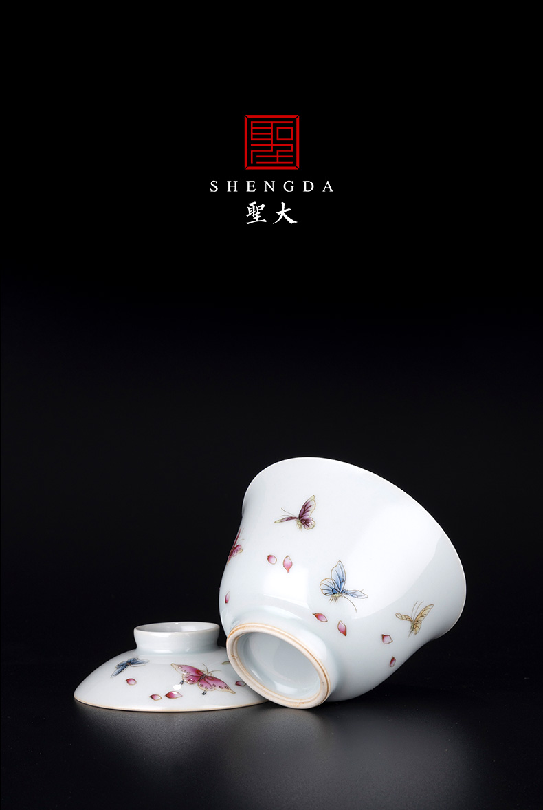 """St large ceramic famille rose flower butterfly """"two to tureen kung fu tea cups suit household jingdezhen tea bowl"""