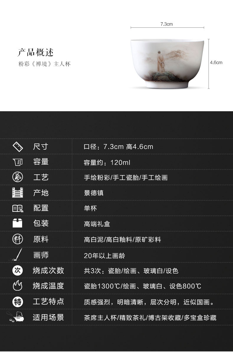 "Santa teacups hand - made ceramic kungfu pastel ""land"" master cup all hand jingdezhen tea sample tea cup"