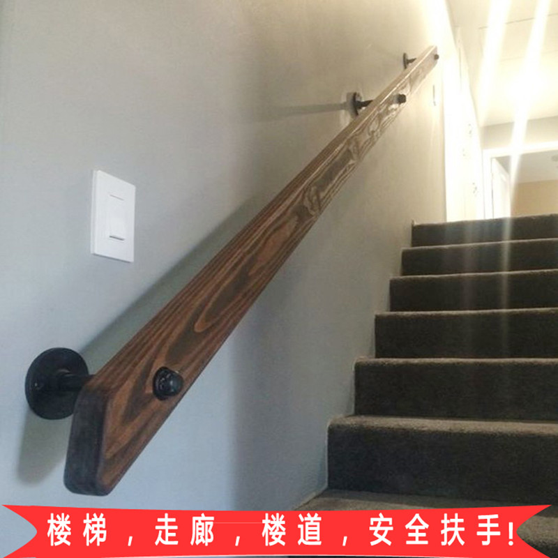 European Non Slip Staircase Armrest Room Against Wall Old Man Handle  Railing Solid Wood Bar