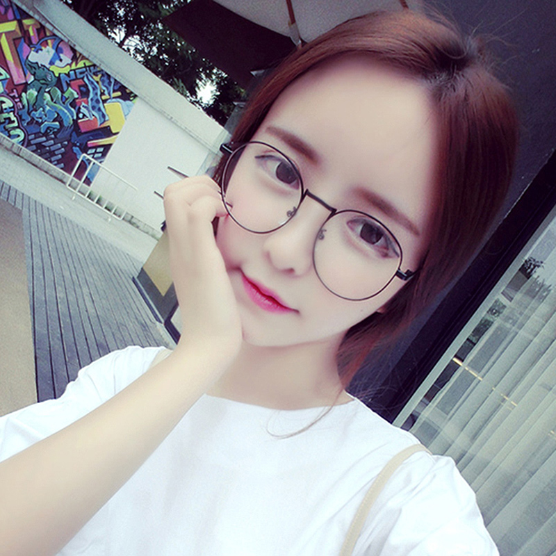 2517ea687f Korean version of the college retro oval metal frame flat mirror literary  Harajuku men and women can be equipped with myopia glasses frame