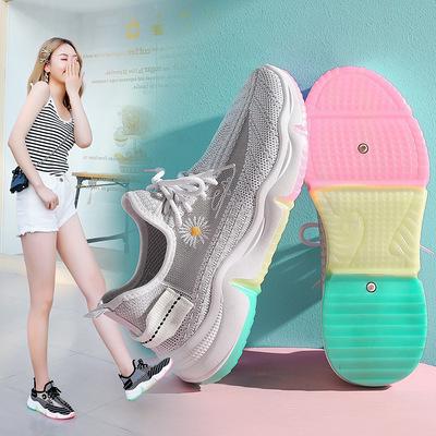 弹力飞织椰子女鞋2021春夏新款彩虹底网面透气休闲鞋跑步运动鞋女