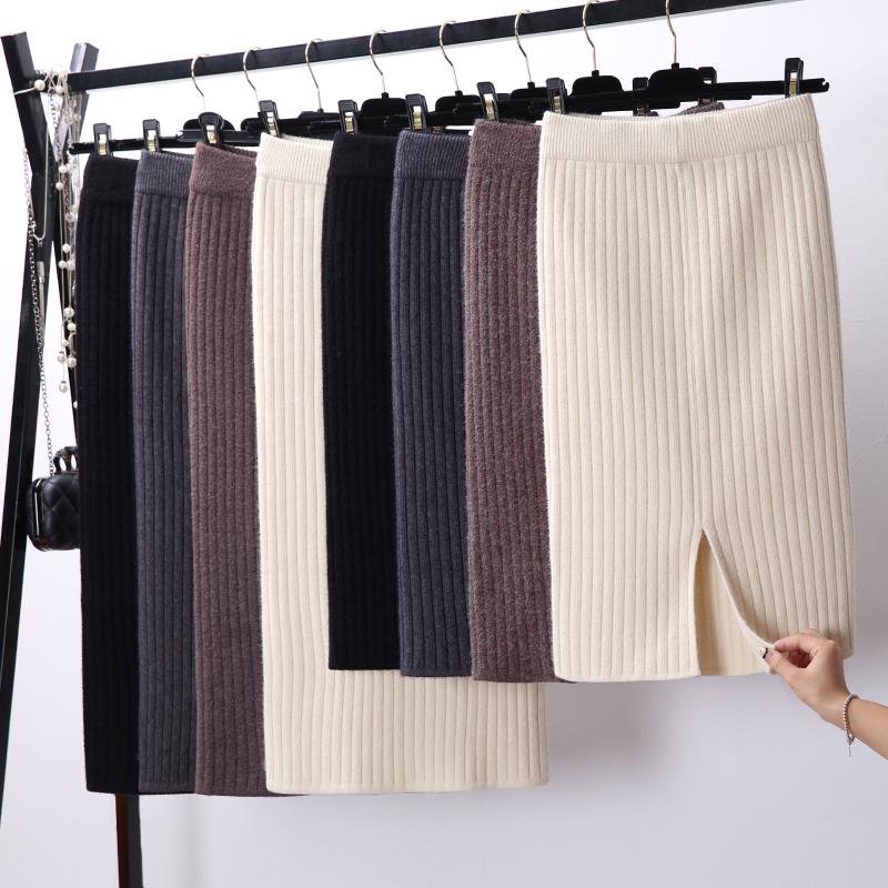 Утепленный Сплит концы трикотажный подол пакет Батокс шагают женщина юбки фасон средней длины стиль 2018 осень-зима новая коллекция Длинная юбка шерстяная пряжа юбка