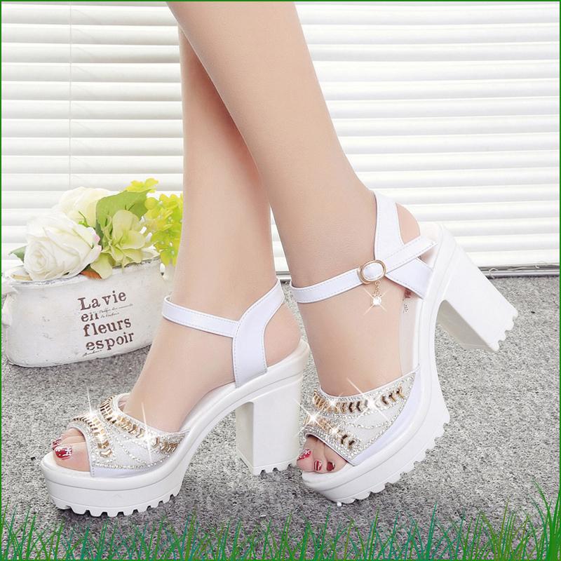chic新款欧美鱼嘴厚底凉鞋超高防水台水钻跟一字扣带粗跟松糕女夏