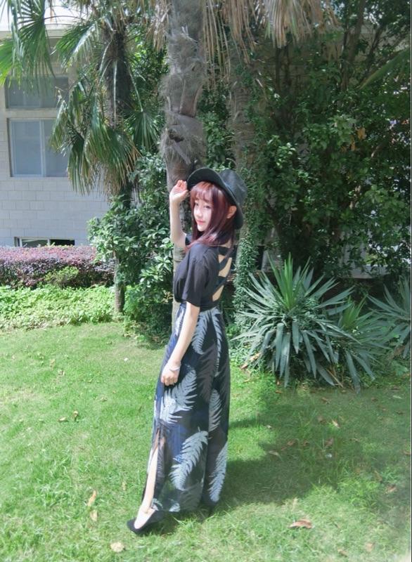 6度2016夏季新款韩版后背交叉镂空露背圆领宽松短袖T恤女上衣潮