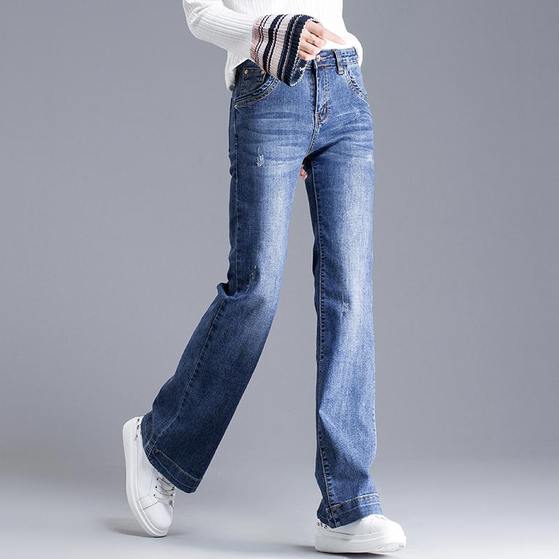 春款宽腿阔腿牛仔裤女2018新款长裤韩版宽松直筒裤chic裤子微喇裤