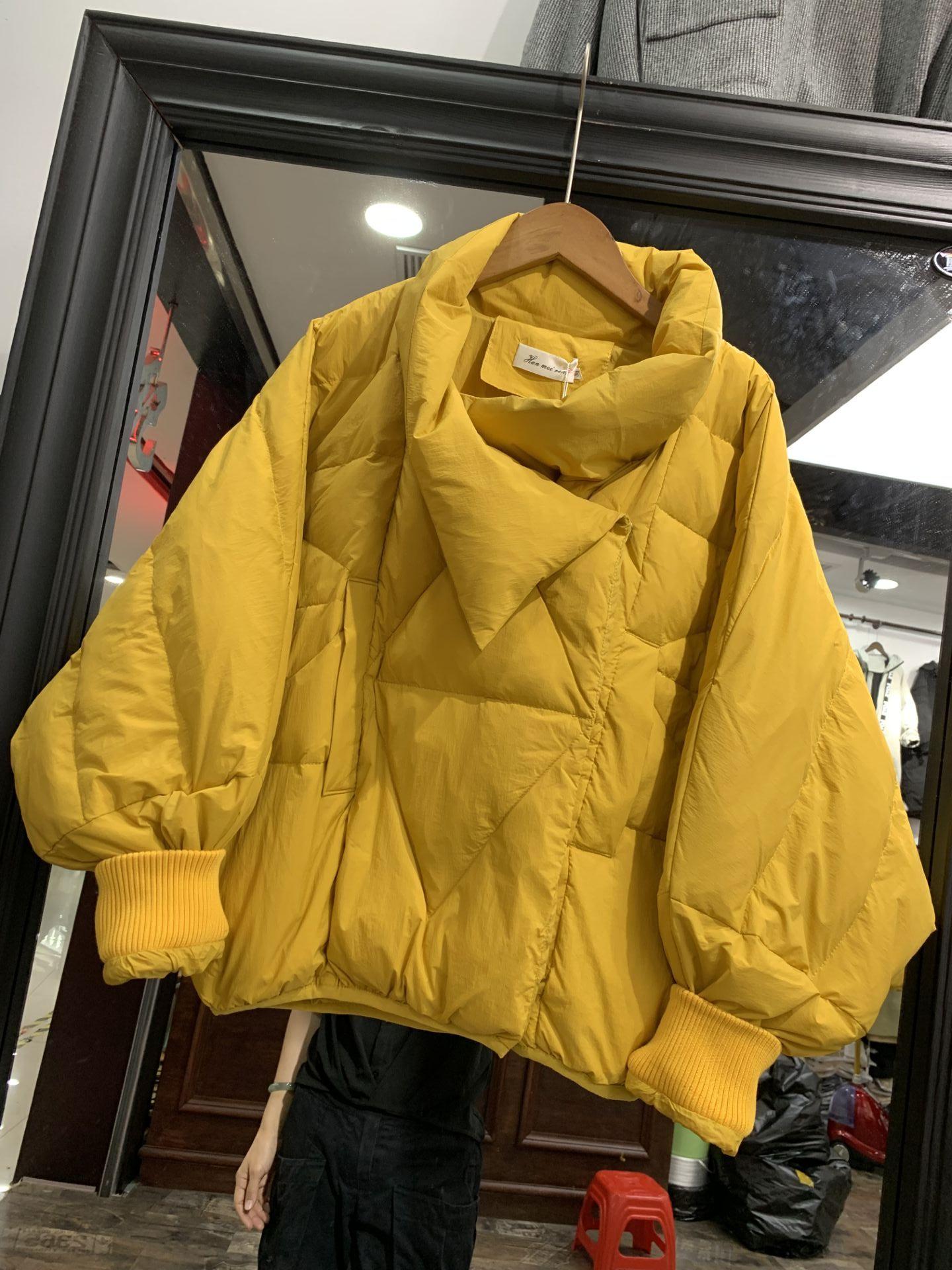 D08羽绒服女冬新韩版蝙蝠袖宽松显瘦压格立领面包服轻薄外套0.55