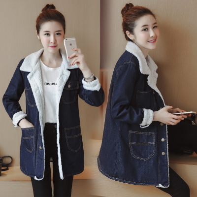 150-158cm small short autumn and winter was apparently high lambskin denim jacket for one meter five five ladies BF