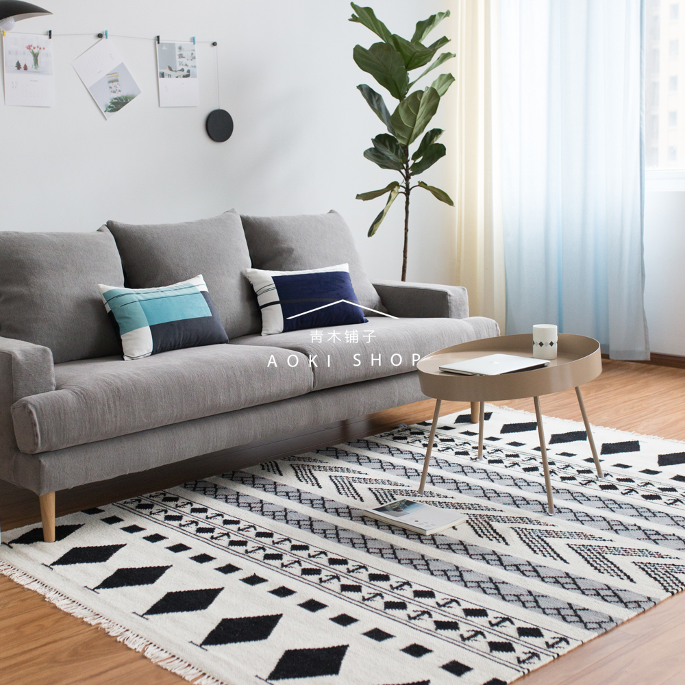India Imported Hand Woven Wool Carpet Black And White Diamond Geometric  Pattern Nordic Living Room
