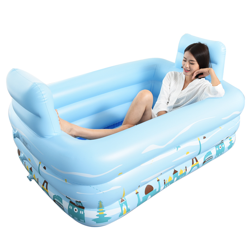 Household inflatable bathtub adult double tub body reclining plastic ...