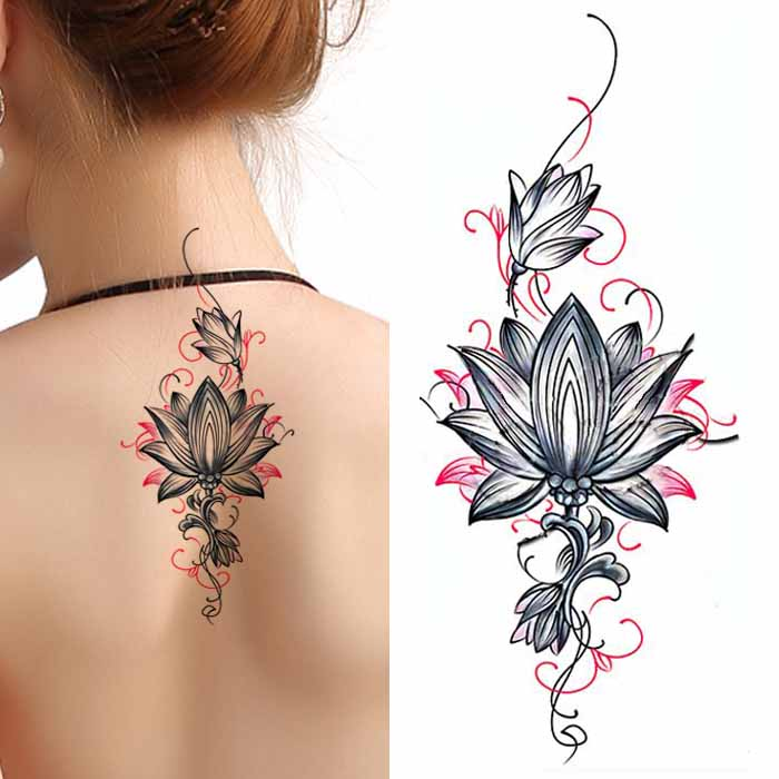 b48fc88b8 Tattoo stickers waterproof female long-lasting sexy Lotus Lotus scar  cesarean arm stickers back tattoo stickers