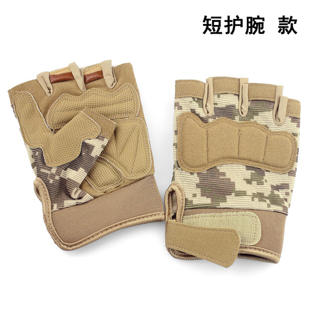 Special forces army fan male half finger sports fitness half gloves outdoor riding non-slip wear-resistant tactical gloves
