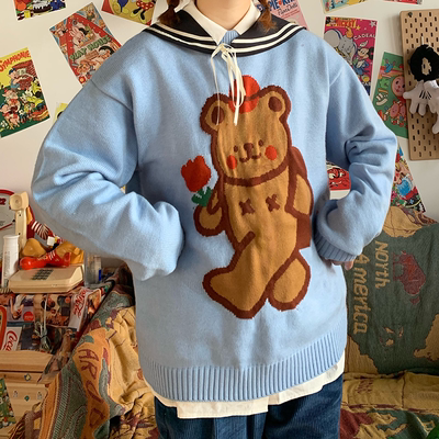 old pumpkin original bear sky blue navy collar loose men and women sweater autumn and winter models