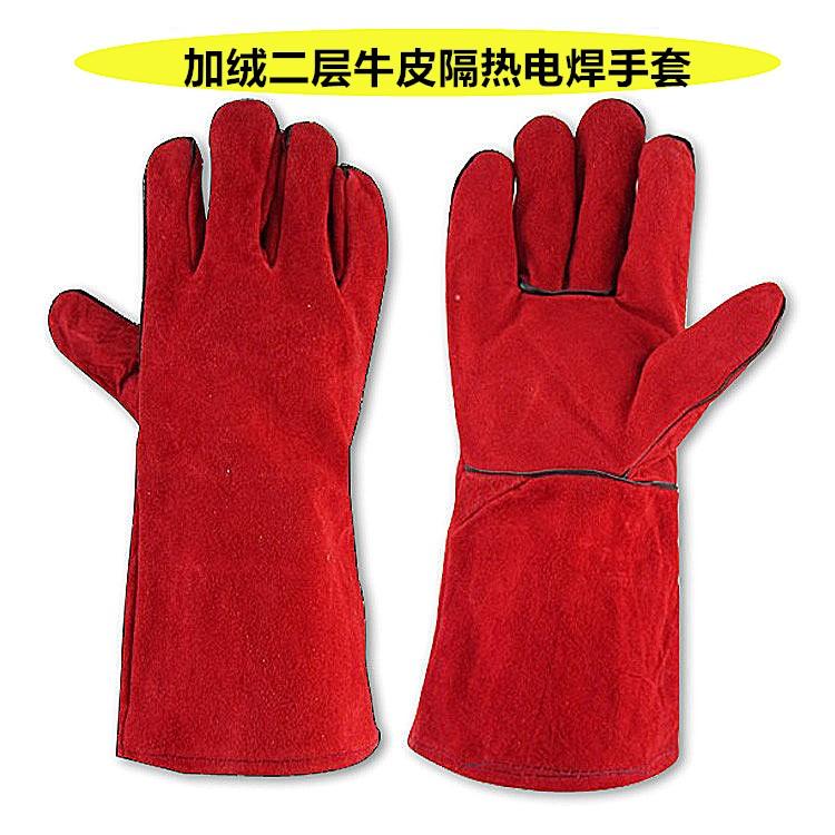 电焊手套双层加长焊工耐磨隔热劳保翻毛焊接防护真牛皮新品促销
