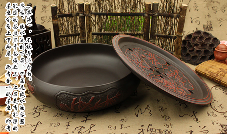 功夫茶盤茶海茶台紫砂大茶盤陶瓷茶具簡約家用圓形茶托盤儲水小號RM
