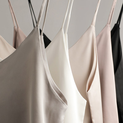 V-neck silk satin black bottoming sling vest female sleeve inside the bottom shirt outside dressing clothes female summer