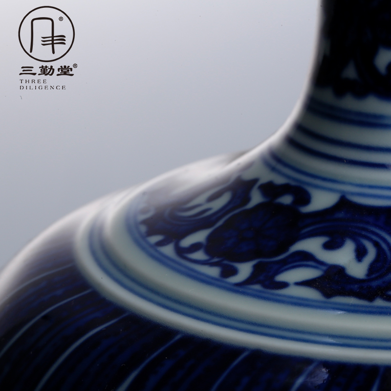 Three frequently hall of jingdezhen blue and white vase ceramic furnishing articles flower vase