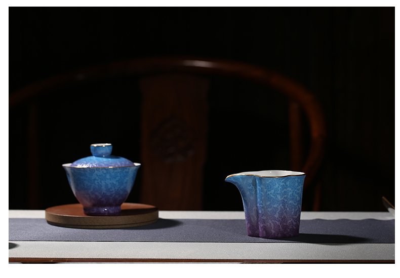 Three frequently hall, pick flowers, jingdezhen ceramic fair keller kung fu tea set points make tea tea is a cup of tea and a cup of sea S32034