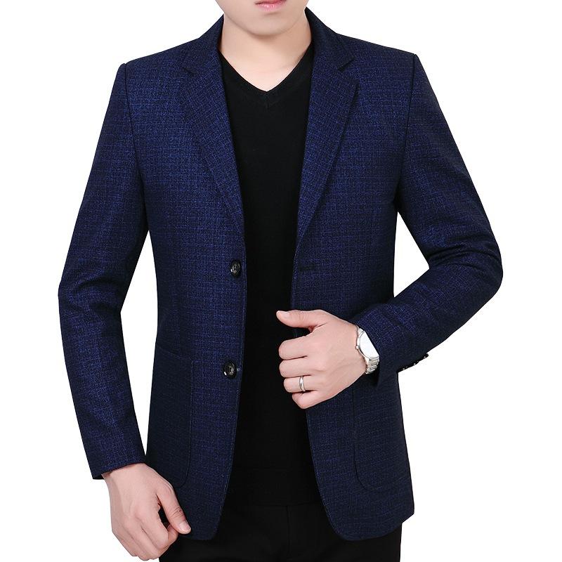 2019春季新款中年男士西装外套商务男装休闲爸爸春装羊毛呢西服男