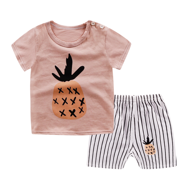 Brown Pineapple Short Sleeve Shorts Set