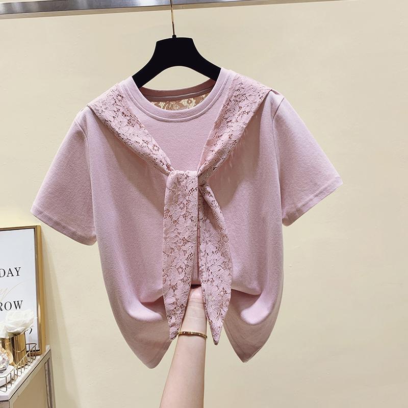 温纯雅2021年夏季新款洋气蕾丝拼接系带t恤女短袖设计感小众上衣