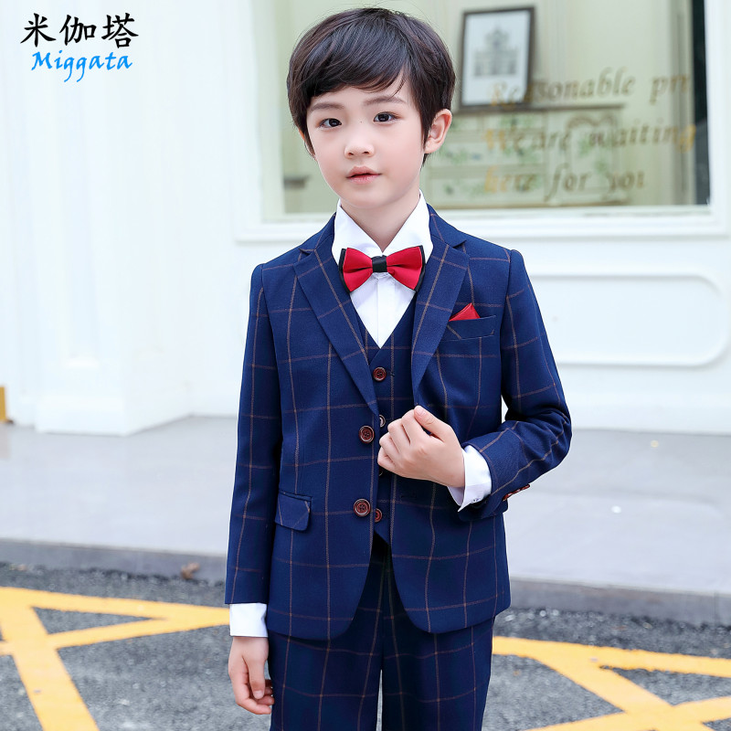 Children's suit suit boy dress blue plaid coat flower baby baby small suit in the big boy piano performance dress