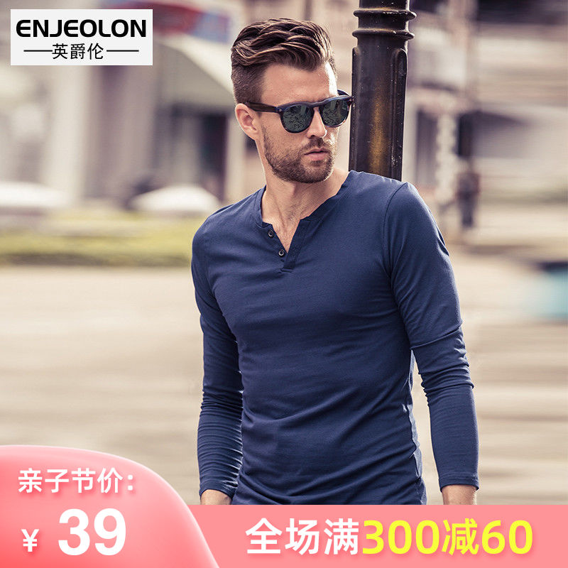 British Men's V-neck long-sleeved T-shirt autumn trim comfortable European style simple solid color men's bottom shirt