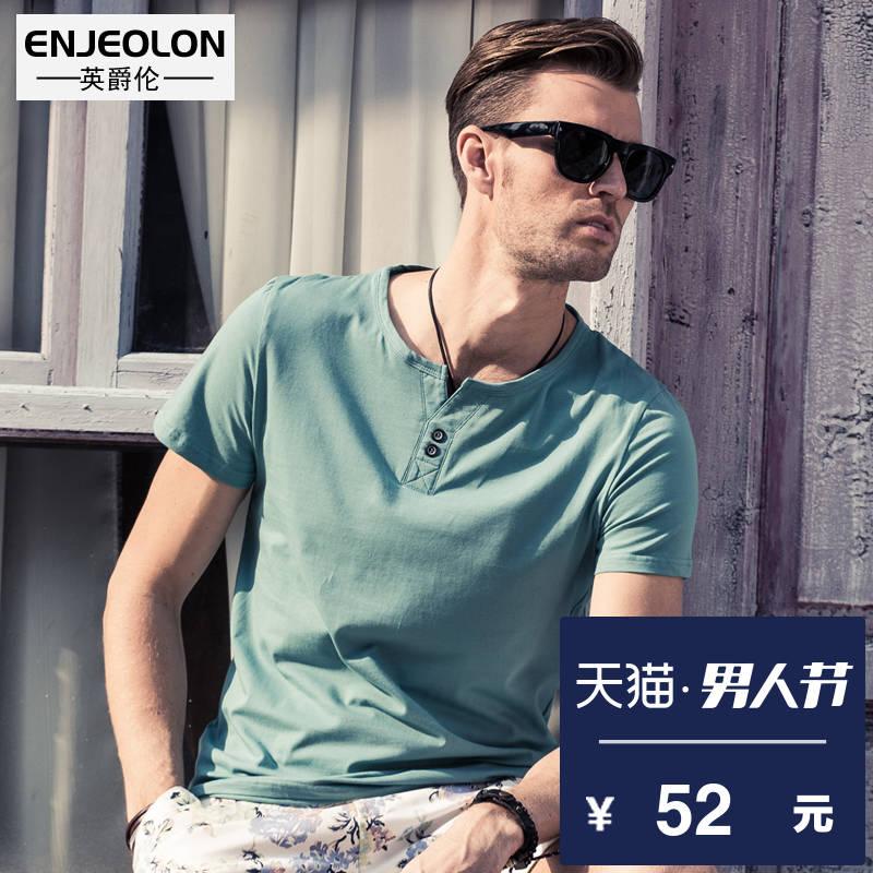 Английский джаз отношения летом мужской короткий рукав T футболки личность кнопки V воротник твердый одежда мужской куртка сочувствовать