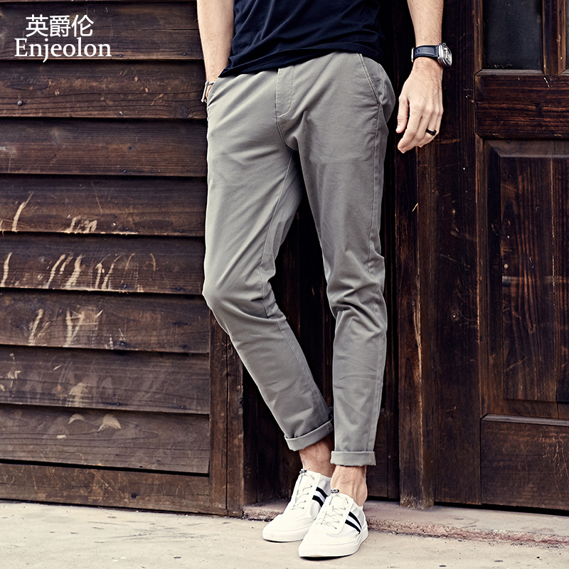 British Queen's Spring/Summer new men's casual pants simple trim pants Korean version of the trend of small pants pure color tide.