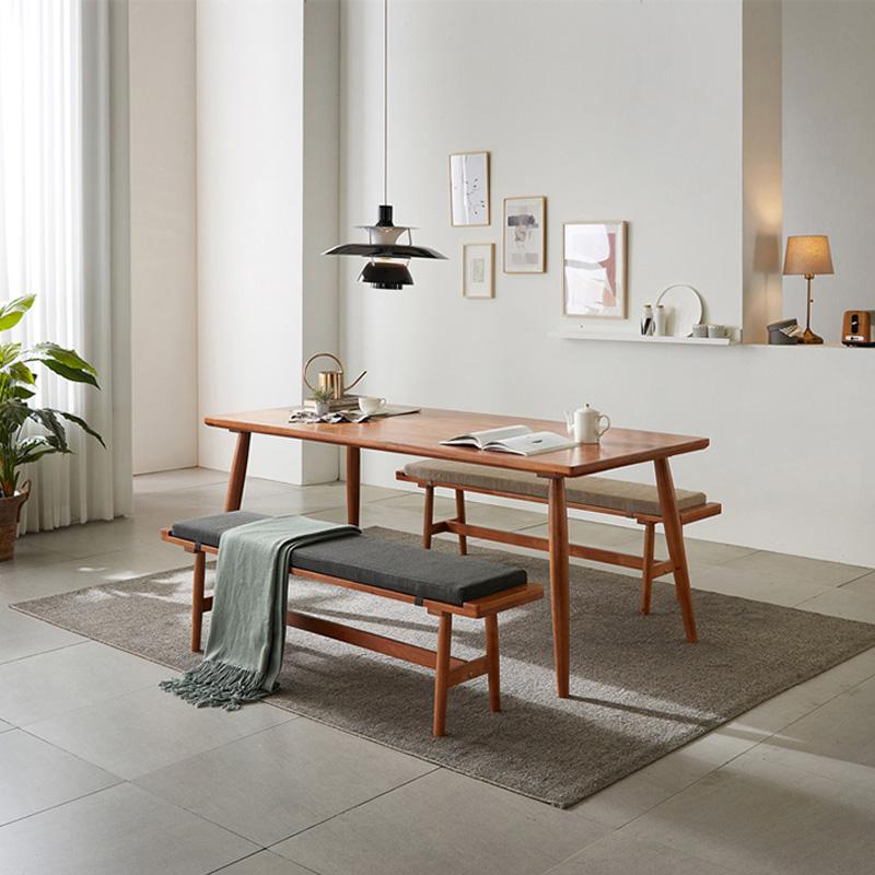 全实木樱桃凳v樱桃丹麦柚木色饭餐桌拆洗桌子橡木木长凳餐厅家具