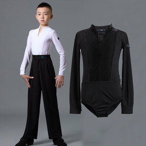 Boys latin dance shirt Boys Latin dance performance suit children boys professional long sleeve V-neck national standard dance one-piece training top