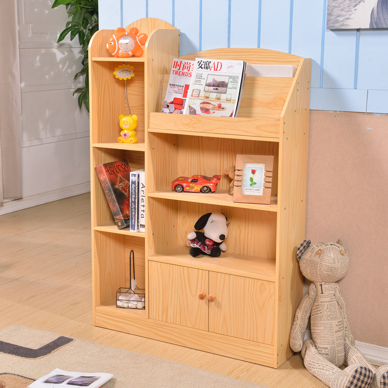 Childrens Bookshelf Student Bookcase Simple Shelf Storage Combination Locker With Door