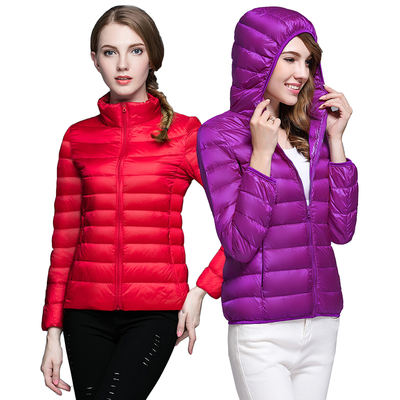 Lightweight down jacket female short section collar hooded fashion Korean version of the slim thin section women's jacket large size autumn and winter break code