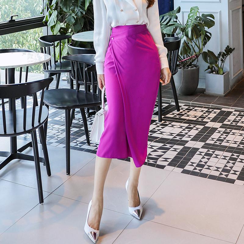 三小姐的咖啡春装女2019新款高腰中长款开叉修身包臀半身裙QA1257