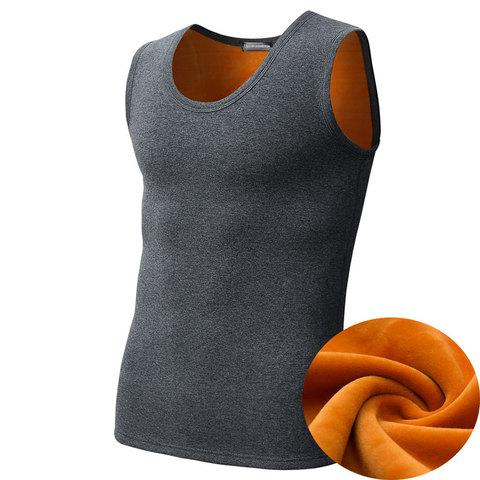 冬季男士保暖背心加绒加厚打底修身内衣女全纯棉大码修身坎肩马甲