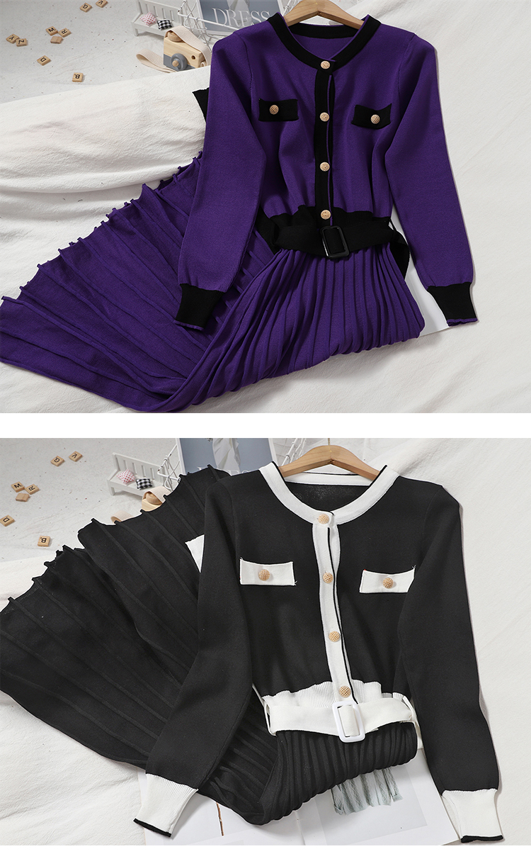 Autumn and winter new 100-year-old hit-and-line neckline button-down knitted dress show thin Korean version waist-length pleated skirt 15 Online shopping Bangladesh