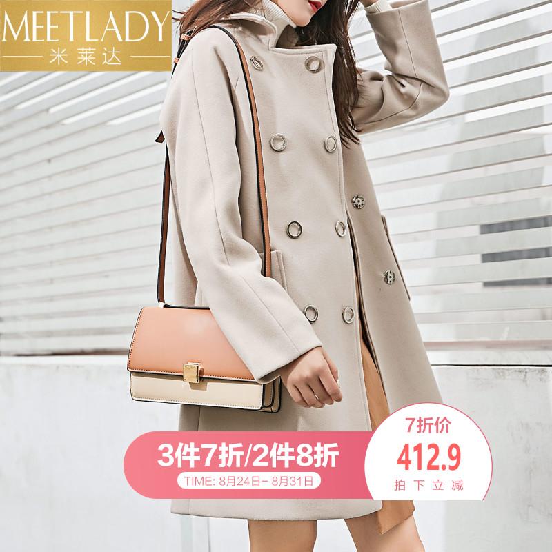 米莱达2018秋新款外套双排扣大衣落肩修身简约毛呢翻领气质时尚女