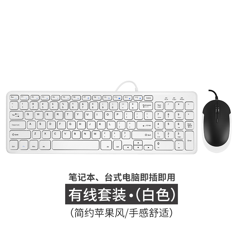 Wired 96-key version - white mouse and keyboard set