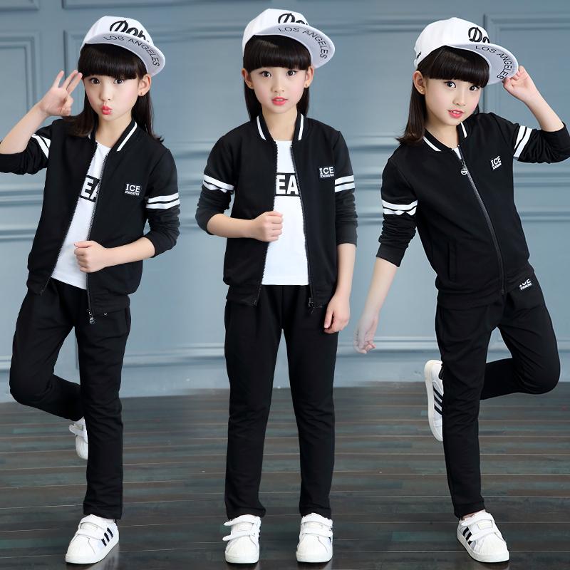 女童春装套装2018新款韩版潮衣10中大童12女孩运动洋气三件套15岁